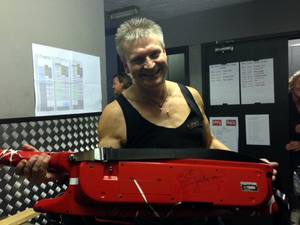 Jem Davis at Planet Rockstock 8 Dec 2013 with his 'Bat' signed by Rick Wakeman