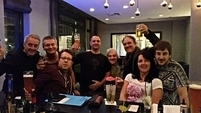 Band and crew in Frankfurt hotel bar 15 Nov 2015
