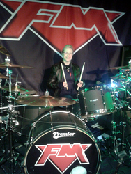 FM - Nuneaton 22 March 2013 - Jo our keys tech gives Pete's drumkit a try out