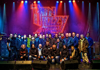 Thin Lizzy / FM / The Treatment - team photo - last night of tour - 11 Dec 2012 - by Al Barrow