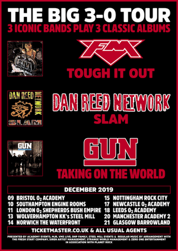 FM + Dan Reed Network + Gun - UK tour Dec 2019 - poster