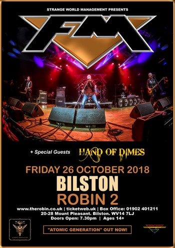 FM + Hand Of Dimes at Bilston Robin 2 - 26 Oct 2018 - poster