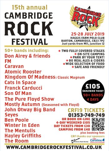 FM at Cambridge Rock Festival - 26 July 2019 - poster