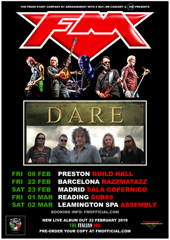 FM + Dare - UK / Spain tour dates 2019 - poster