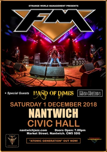 FM + Hand Of Dimes + Mad Haven at Nantwich Civic Hall - 1 Dec 2018 - poster