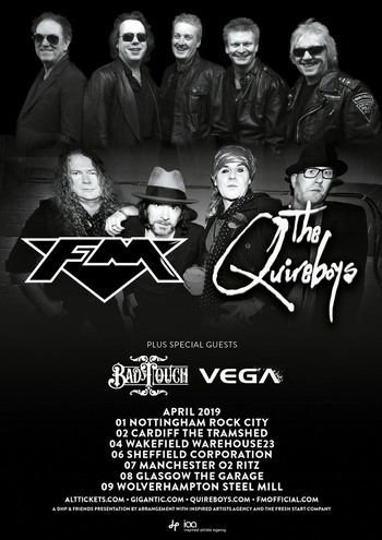 FM + Quireboys + Bad Touch + Vega - April 2019 tour dates - poster