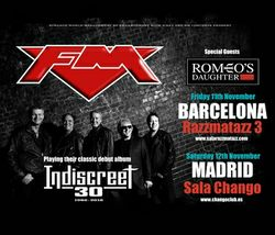 FM - Romeo's Daughter - Spain - November 2016 - Indiscreet 30- tour dates poster