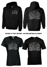 """Tough It Out"" retro hoodie and T-shirts - metallic silver print"
